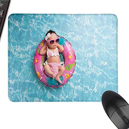 - Babylarge Mouse padNine Days Old Girl Sleeping on Tiny Inflatable Ring Crocheted Bikini SunglassesComfortable Mousepad 9.8