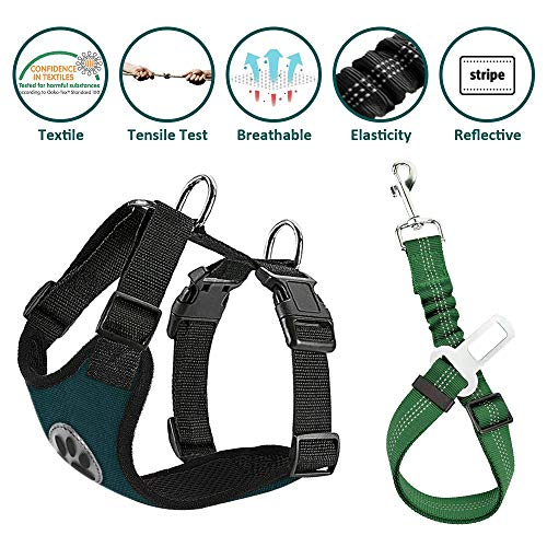 - Lukovee Dog Safety Vest Harness Seatbelt, Dog Car Harness Seat Belt Adjustable Pet Harnesses Double Breathable Mesh Fabric Car Vehicle Connector Strap Dog (Small, Canvas Green+Green Seatbelt)