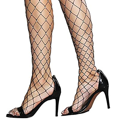 Women's Thigh High Stockings Rhinestone Fishnet Elastic Stockings Big Fish Net Tights Pantyhose (Black) at Women's Clothing store