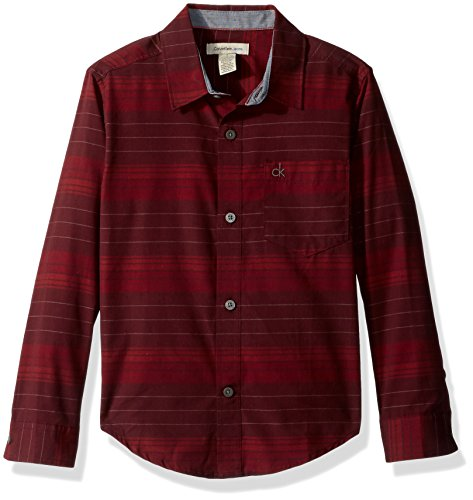 Calvin Klein Big Boys' Merge Horizontal Stripe Long Sleeve Shirt, Dark Red, Medium (10/12)