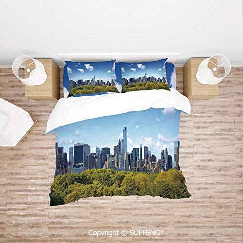 SCOXIXI 4 Piece Bedding Manhattan Skyline with Central Park in New York City Midtown High Rise Buildings (Comforter Not Included) Soft, Breathable, Hypoallergenic, Fade Resistant