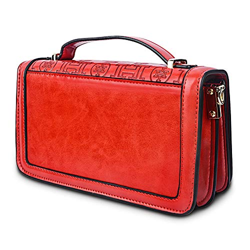 Women Crossbody Shopping for for Design Leather i5 Package layer shoulder Bag One Bag Red PU Multi Handbag Rectangular PE084w