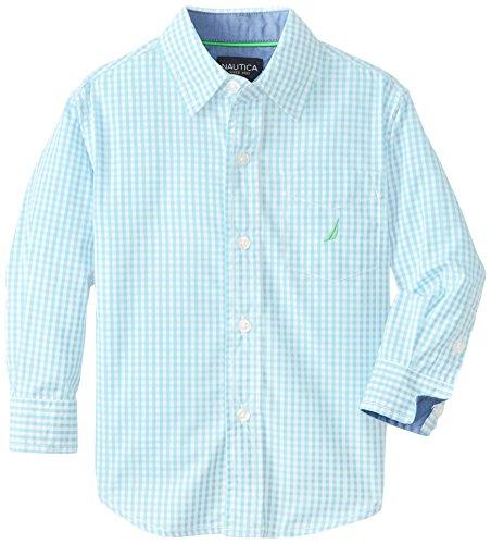 Nautica Little Boys' Long-Sleeve Gingham Shirt,Hydro,2T