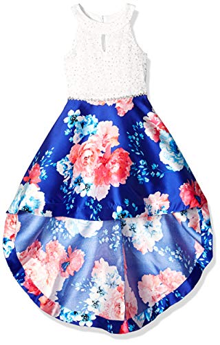 Speechless Girls' Big 7-16 High-Low Party Dress with Scalloped Edge Bodice, Cobalt Pink Floral, 12]()