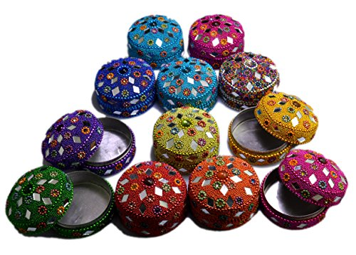 A Set of 12pcs Jewelry Boxes Home Decor Mirror Work,beaded Fashionable Multi Color Jewellery Boxes