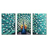 FLY SPRAY 3-Piece 100% Hand Painted Oil Paintings Canvas Wall Art Peacock Cyan Blue Artwork Stretched Framed Texture Modern Abstract Elegant Painting Decor Living Room Bedroom Office Home Decoration