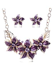Gold Plated Austrian Crystal Enamel Flower Jewelry Sets Women African Costume Sapphire Jewelry Maxi Necklace Earring Set Pws0001^Gold Purple
