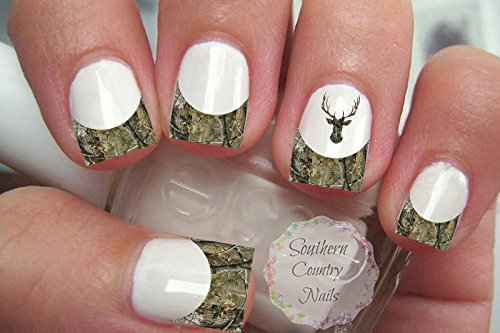 Amazon Orange Camo Deer French Tips And Full Nail Art Decals