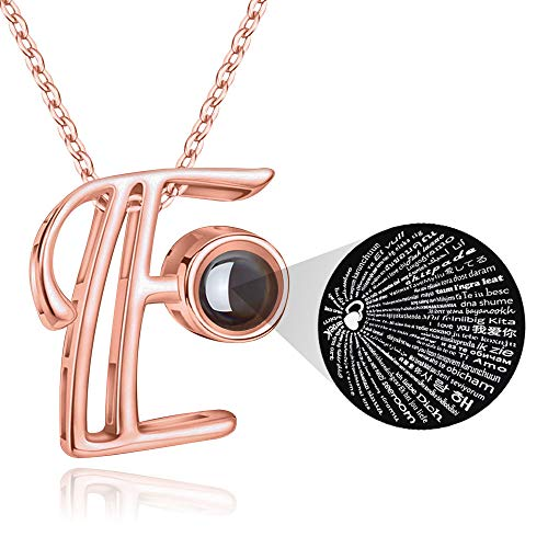 (M MOOHAM Initial Necklace for Women Gift - 26 A-Z Initial Letters Necklace Jewelry Personalized 100 Languages I Love U Pendant Necklace Best Gifts for Women Girl Mother's Day Birthday Parties)