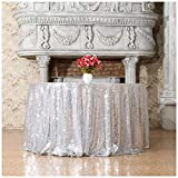 3e Home 50-Inch Round Sequin TableCloth for Party Cake Dessert Table Exhibition Events, Silvery