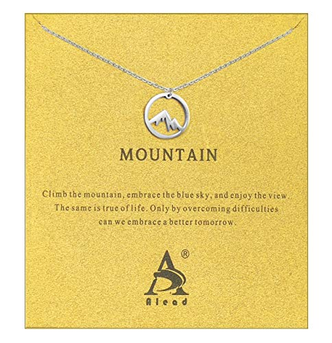 ALEAD Women Pineapple Snow Mountain Elephant Friendship Cactus Snowflake Pearl Luck Horseshoe Star and Moon Sun Key Stainless Steel Pendant Clavicle Necklace with Message Gift Card(Mountain-Silver)