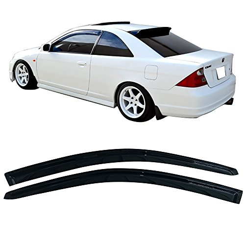 Window Visors Fits 2001-2005 Honda Civic | Acrylic Smoke Tinted/Semi-transparent Sun Rain Guard Wind Vent Air Deflector Shade by IKON MOTORSPORTS | 2002 2003 2004