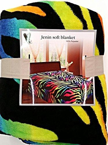 Microfiber Rainbow Zebra Soft Fleece Blanket Queen Full Animal Print Throw Cover(Full)
