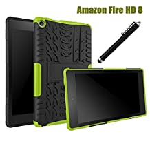 All-New Fire HD 8 2016 Case 6th Generation, NOKEA Hybrid Heavy Duty Armor Protection Cover [Anti Slip] [Built-In Kickstand] Skin Case For New Fire HD 8 Kids Tablet ( 6th Gen 2016 Release ) (Green)