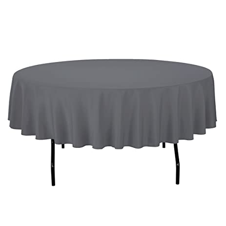 LinenTablecloth Round Polyester Tablecloth, 90 Inch, Charcoal