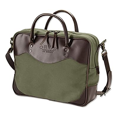 free shipping Orvis Bootlegger Leather And Canvas Briefcase