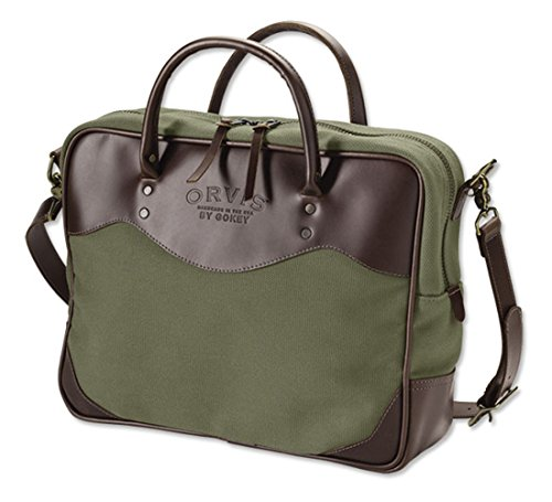 Orvis Bootlegger Leather And Canvas Briefcase, Olive by Orvis