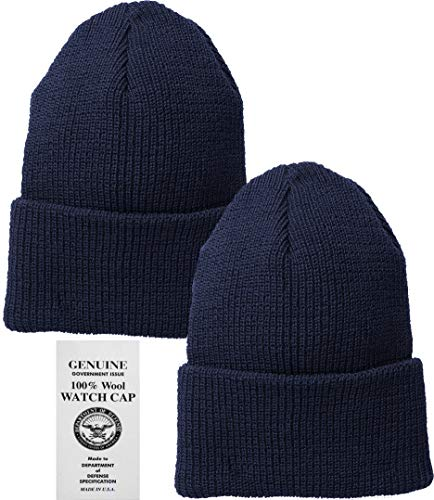 Navy Blue Military Genuine GI US Department of Defense 100% Wool Watch Cap (2-Pack)