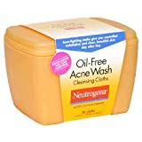 Neutrogena Oil-Free Acne Wash Cleansing Cloths, 30 Count