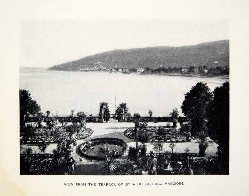 1907 Print Lake Maggiore Lago Alps Isola Bella Borromean Island Italy Isabella - Original Halftone Print Isola Island