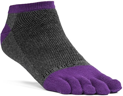 FUN TOES Women's Cotton Toe Socks Barefoot Running Socks -PACK OF 6 PAIRS- Size 9-11 -Lightweight- (Grey/Purple) by FUN TOES (Image #1)