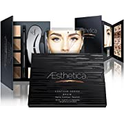 Amazon Lightning Deal 88% claimed: Aesthetica Cosmetics Brow Contour Kit – 15-Piece Contouring Eyebrow Makeup Palette – Includes Powders, Wax, Stencils, Spoolie/Brush Duo, Tweezers & Step-by-Step Instructions – Vegan & Cruelty Free