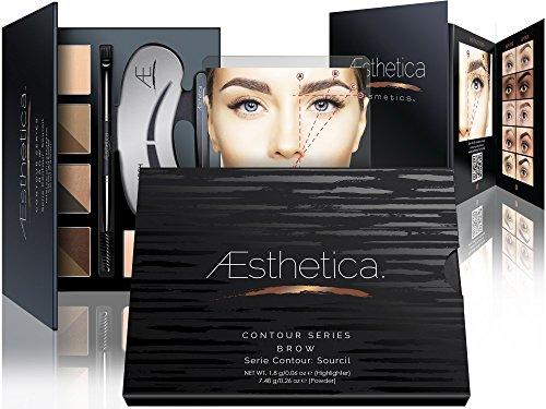 Aesthetica Cosmetics Brow Contour Kit - 15-Piece Contouring Eyebrow Makeup