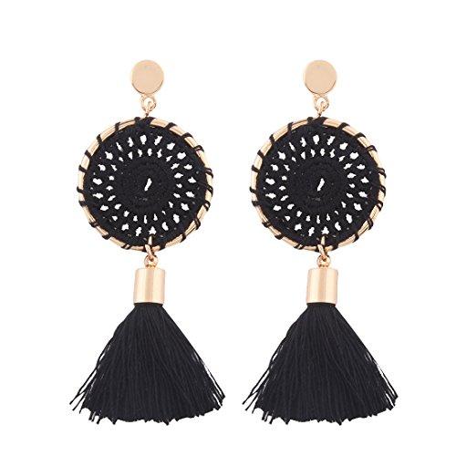 Solememo 7 Colors Handmade Bohemian Tassel Earrings Red Black Tassel Earrings for Women Vintage Ethnic Jewelry Earrings (Black)