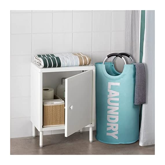 """82L Large Laundry Basket Collapsible Fabric Laundry Hamper Tall Foldable Laundry Bag Handles Waterproof Washing Bin Clothes Bag Travel Shopping Bathroom College Essentials Storage (Light Blue,L) - ALUMIUM HANDLE WITH SOFT GRIP - The handle design of laundry baskets is very comfortable and reinforced for easy carrying. It is suitable for most situations use, such as closet, college dorms, apartments, baby nurseries, utility room office for toys, books, CDs, clothes, underwear storage. DOUBLE LAYER 600D OXFORD FABRIC - While other laundry bins may rip and spilt under pressure, ours is crafted from heavy-duty double-layered 600D Oxford fabric and thick PE coating in the bottom. The hampers are waterproof and durable. 100L LARGE CAPACITY & FOLDABLE - Using size 15""""(L) x 15""""(W) x 28""""(H) / 38 x 38 x 72cm. Folded size 15"""" (L) x 15""""(W) x 1.2""""(H) / 38 x 38 x 3cm. The calculated volume of the dirty clothes basket is 81L, but it can hold up to 100L clothes. It can meetboth large capacity and save storage spaces such as luggage and drawers. - laundry-room, hampers-baskets, entryway-laundry-room - 514NB9VElvL. SS570  -"""