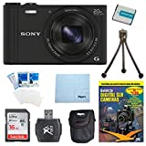 Sony WX350 DSC-WX350 DSCWX350B DSC-WX350/B 18 MP Digital Camera (Black) w/ 16GB Kit Includes Camera, 16GB Ultra SDHC Memory Card, DVD, Battery Pack, Carrying Case, Card Reader, Mini tripod & More