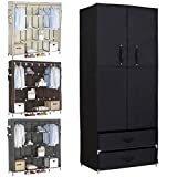 Creative Small Bathroom Storage Ideas WOLTU Portable Clothes Closet Wardrobe with 2 drawer Clothes Storage with Heavy Duty Doors Cloth Organizer Steel Shoe Rack Black
