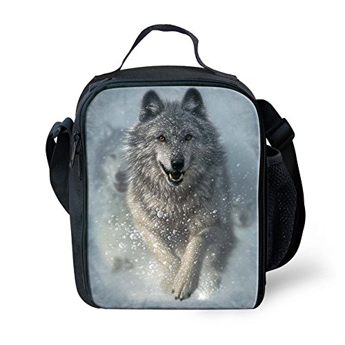CHAQLIN White Wolf Pattern Messenger Insulated Lunch Bag Resuable Lunch box Cooler Bags