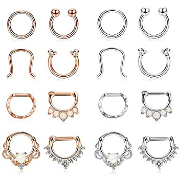- 514NBV2fIZL - Finrezio 16PCS 16G Stainless Steel Septum Piercing Nose Rings Hoop Tragus Cartilage Retainer Body Piercing Jewelry