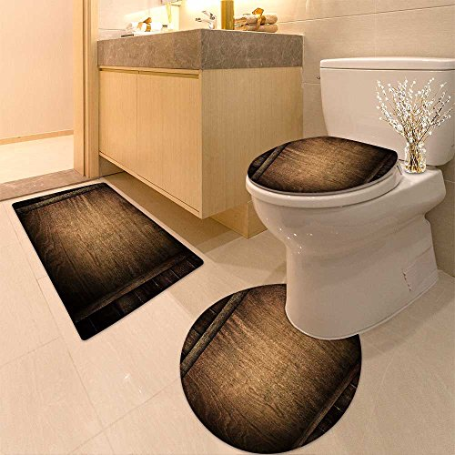 3 Piece Toilet mat set picture of the family running on a grass bridge over a spring flood Textures Non-Slip Bathroom Mats Contour Toilet Cover Rug ()