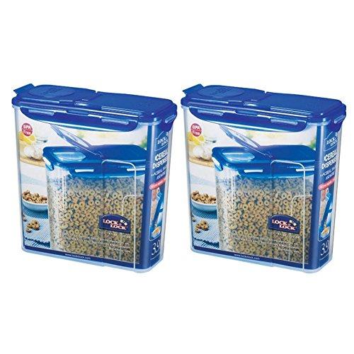 LOCK&LOCK Plastic Cereal Dispenser Dry Food Storage Keeper 3.9L(16.48 cup), Pack Of 2