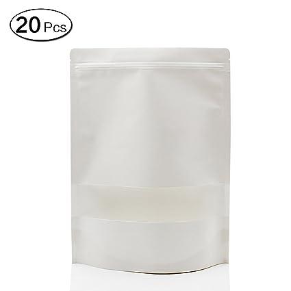 Jia Hu 20pcs grueso sellado blanco bolsas de papel Kraft con ...