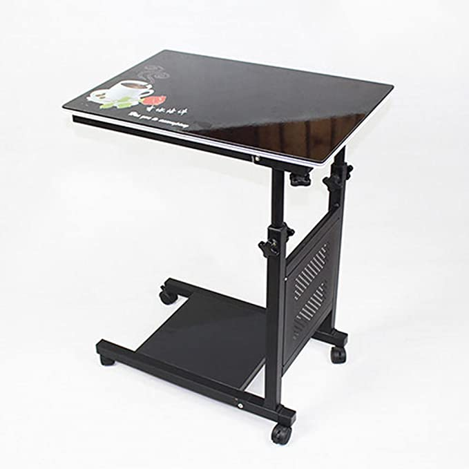 Amazon.com: HTDZDX Overbed Bedside Table with Wheels Laptop Stand Rolling Bed Tray Adjustable Hospital Bed Table (Color : Black Print): Kitchen & Dining