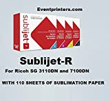 SUBLIJET-R sublimation ink cartridges for Ricoh SG 3110DN and 7100DN printers - COMPLETE SET (CMYK) - WITH 110 SHEETS OF SUBLIMATION PAPER ''MADE IN JAPAN''