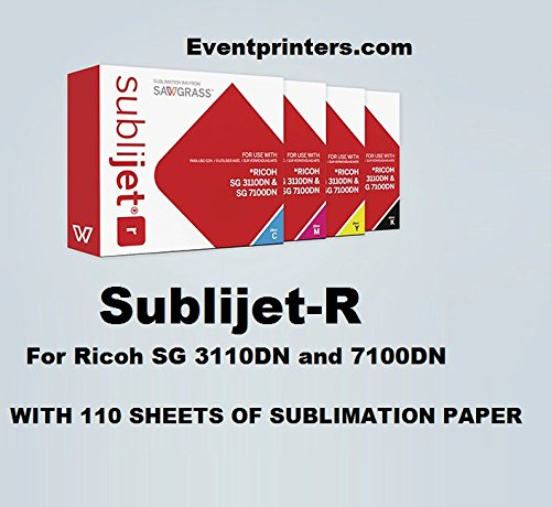 SUBLIJET-R sublimation ink cartridges for Ricoh SG 3110DN and 7100DN printers - COMPLETE SET (CMYK) - WITH 110 SHEETS OF SUBLIMATION PAPER ''MADE IN JAPAN'' by Sawgrass