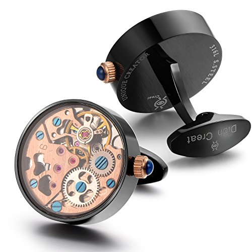 Dich Creat Men's Stainless Steel Rose Gold Working Movement Cufflinks Covered with Glass by Dich Creat