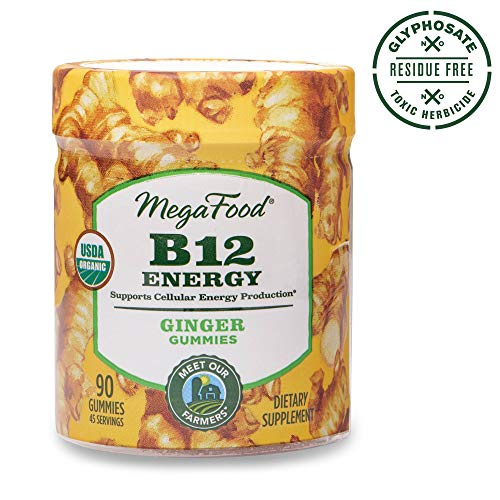 MegaFood, B12 Energy Ginger Gummies, Soft Chew Vitamin B12 Supplement for Cellular Energy Support, Gluten Free, Vegan, 90 Gummies (45 Servings)