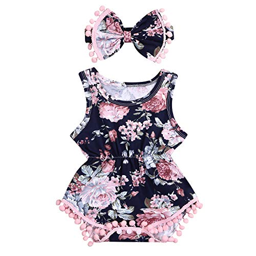Baby Girl Romper Sleeveless Floral Printed Tassel Bodysuit Bow-Knot Headband 2Pcs Outfits Set (18-24 Months, -