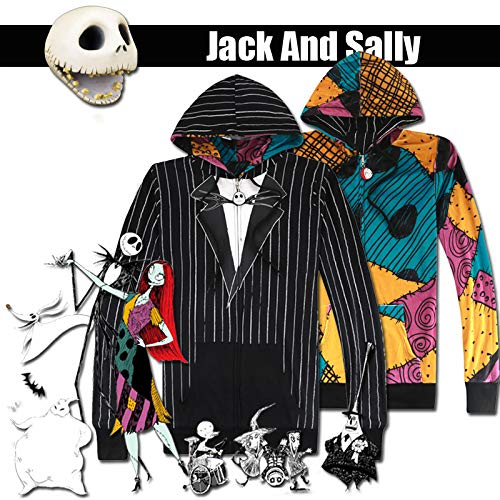 CHITOP The Nightmare Before Christmas- Jack & Sally Reversible Jacket Hoodie Cosplay Halloween Costume (Reversible Jacket) (XL)