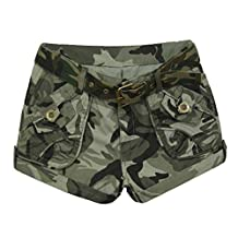 Aubig Cotton Ladies Camo Army Combats Cargo Trousers Camouflage Shorts Pants