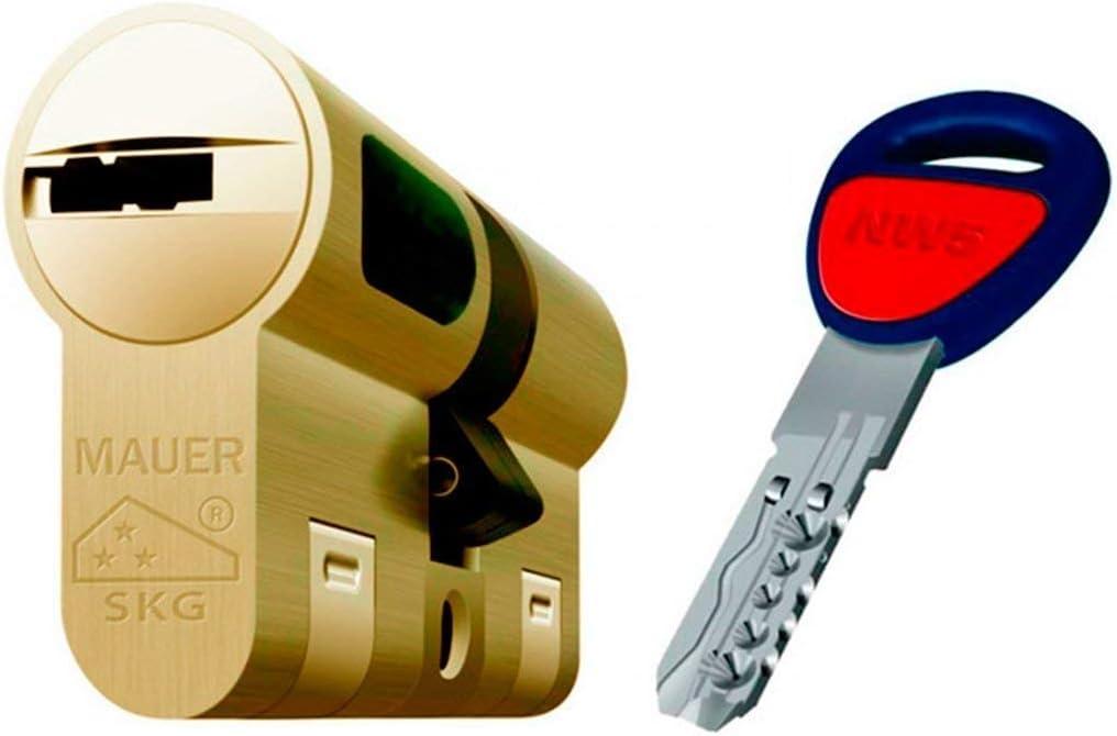 MAUER NW5 Bombin de Seguridad 36x36 DOBLE EMBRAGUE Color Laton Cilindro Bombillo Reforzado Antirotura Antibumping Antitaladro Leva Antiextracción Cerradura para Puerta 5 LLaves Tarjeta de Seguridad
