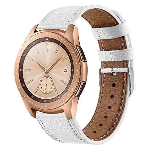 Compatible Galaxy Watch Active (40mm) Leather Bands, 20mm Feminine Replacement Wristband Strap Bracelet for Samsung Galaxy Watch Active (40mm)/Galaxy Watch (42mm)/Gear Sport Smart Watch (White)