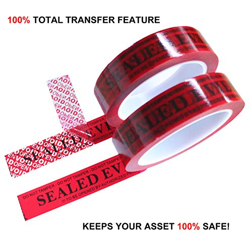 2 Rolls Forensic Easy-to-Tear Precut Security Tamper Evidence Tapes for Crime Scene Use (Red 1