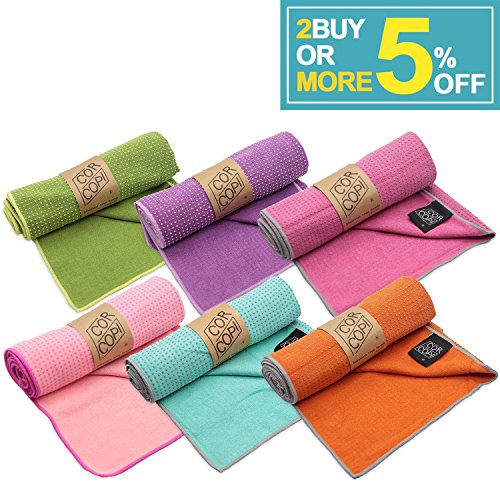 (CORCOPI Yoga Towel Non-Slip Grip Quick Dry Lightweight Super Soft Absorbent Microfiber Towel for Hot Yoga/Pilates with Carry Bag (6 COLORS!) - CHERRY PINK )
