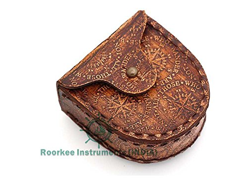 Roorkee Instruments India Thoreau's Go Confidently Quote Engraved Compass with Stamped Leather case.