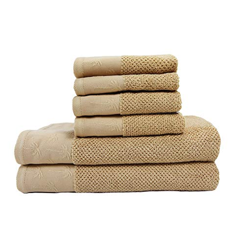 Arkwright Oceanic 6 Piece Nautical Towels Set | 2 Bath Towels, 2 Hand Towels, 2 Wash Cloths| Anchor, Starfish, Palm Tree| Perfect for Coastal Decor, Beach House - Trees Decor Coastal Palm
